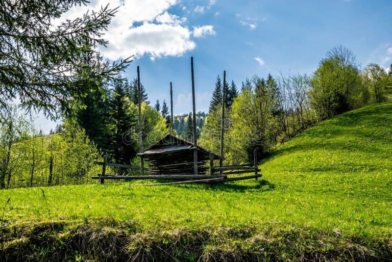 De schuur van het Hutsulhooi op een groen gebied royalty-vrije stock afbeeldingen