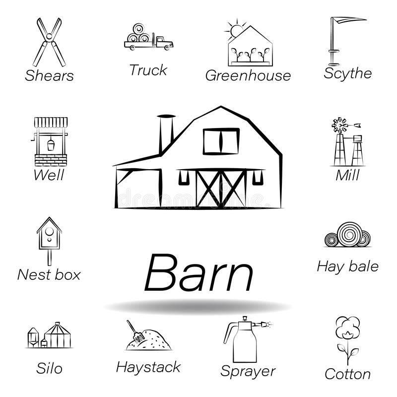 De schuurhand trekt pictogram Element van de landbouw van illustratiepictogrammen De tekens en de symbolen kunnen voor Web, emble stock illustratie