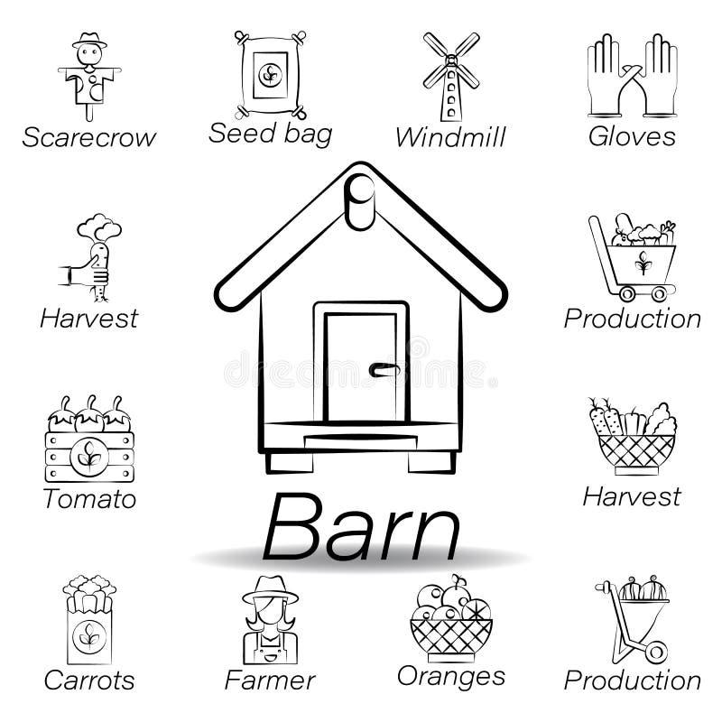 De schuurhand trekt pictogram Element van de landbouw van illustratiepictogrammen De tekens en de symbolen kunnen voor Web, emble vector illustratie