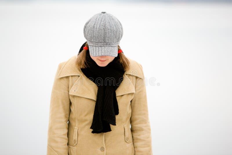 De schuwe Vrouw van de Winter royalty-vrije stock foto