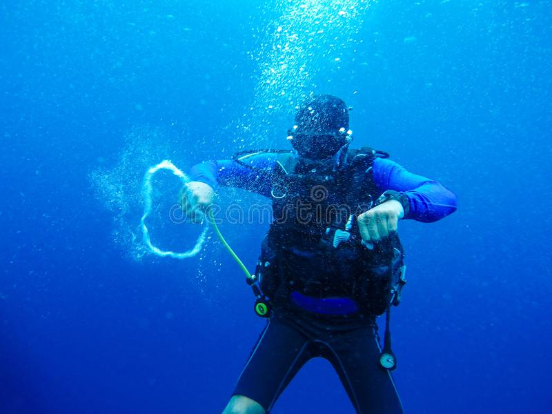 De scuba-duikers zwemmen in onderwater royalty-vrije stock afbeeldingen