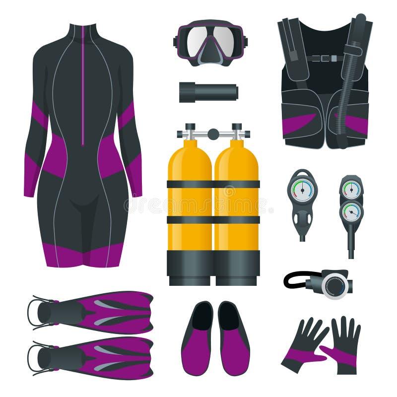 De Scuba-uitrustingstoestel en toebehoren van de vrouw Apparatuur om te duiken IDiver wetsuit, scuba-uitrustingsmasker, snorkelt, stock illustratie