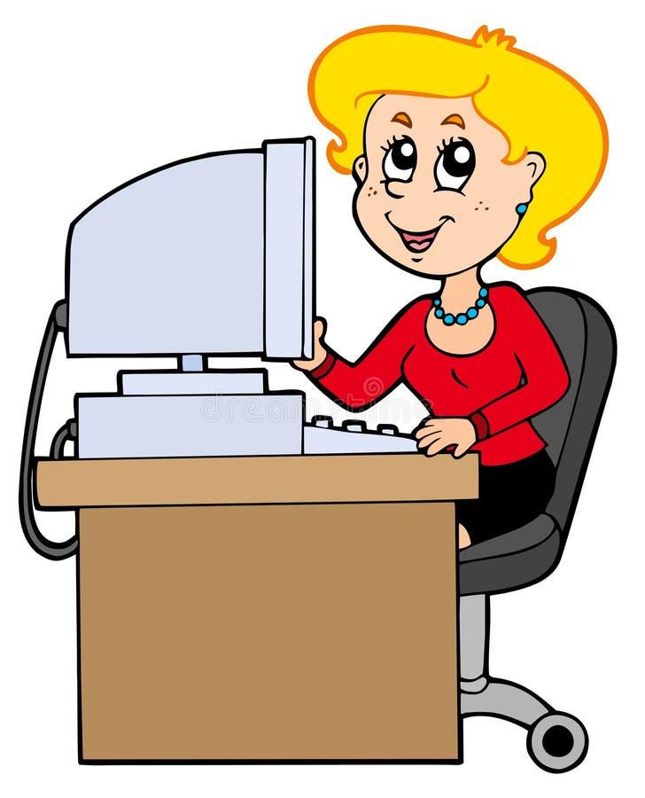 De secretaresse van het beeldverhaal royalty-vrije illustratie
