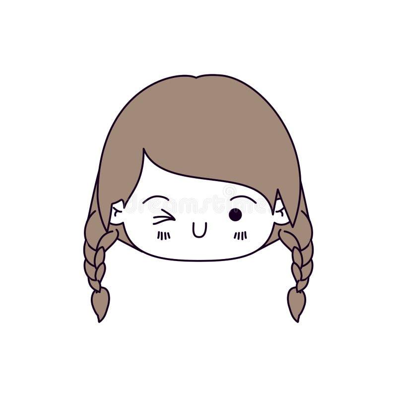 De secties van de silhouetkleur en het lichtbruine haar van kawaii hoofdmeisje met gevlecht haar en gelaatsuitdrukking knipogen royalty-vrije illustratie