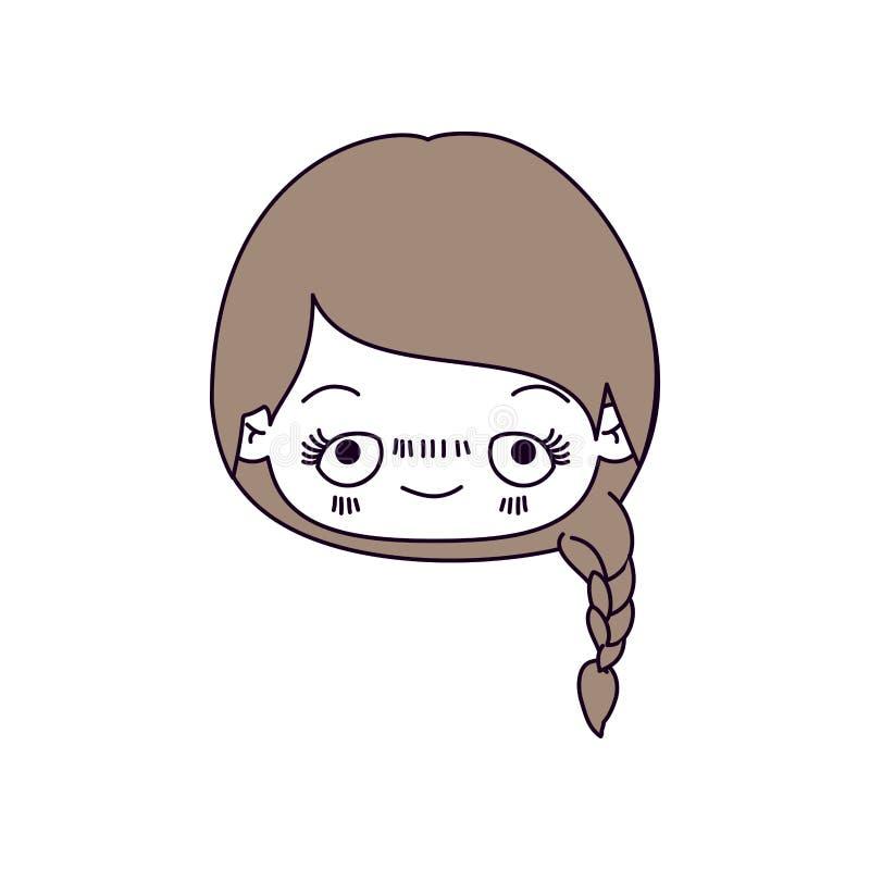 De secties van de silhouetkleur en lichtbruin haar van kawaii hoofd leuk meisje met gevlecht haar en pijnlijke gezichts stock illustratie