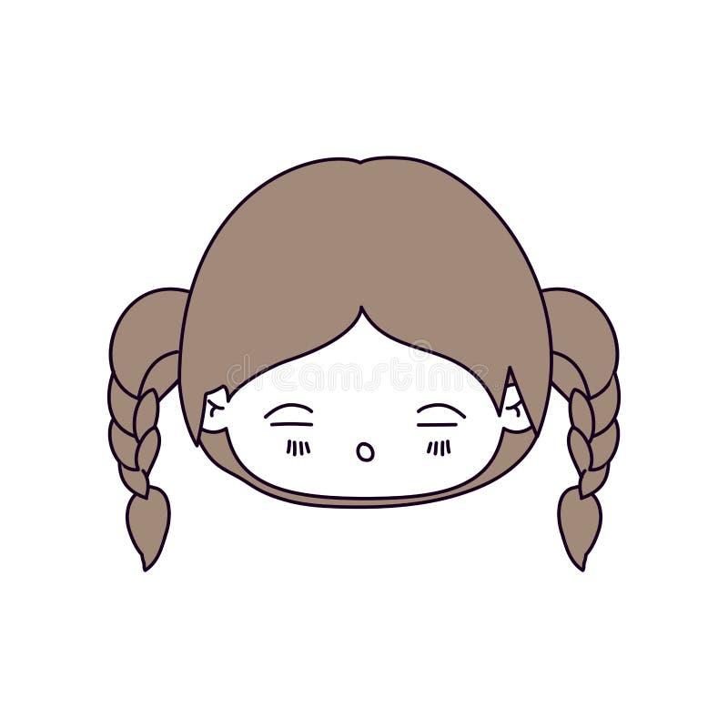 De secties van de silhouetkleur en lichtbruin haar van kawaii hoofdmeisje met gevlecht haar en vermoeide gelaatsuitdrukking vector illustratie