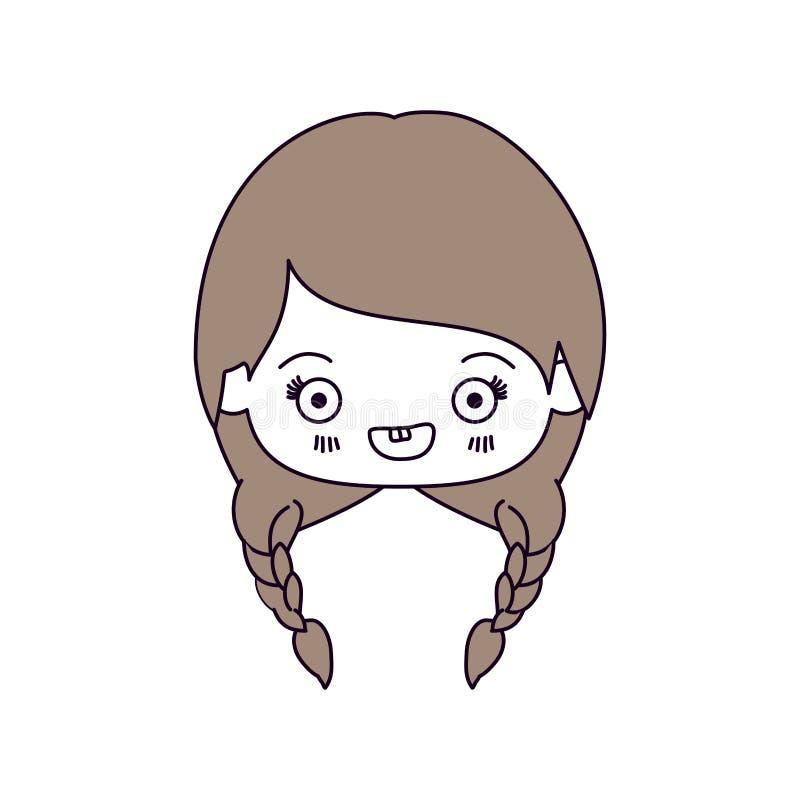De secties van de silhouetkleur en lichtbruin haar van kawaiihoofd van leuk meisje met gevlecht haar en het glimlachen vector illustratie