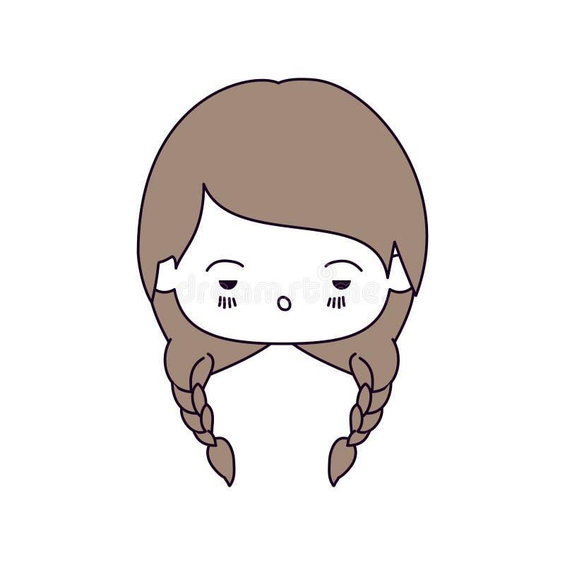 De secties van de silhouetkleur van meisje van gelaatsuitdrukking het droevige kawaii met gevlecht haar in lichtbruin royalty-vrije illustratie