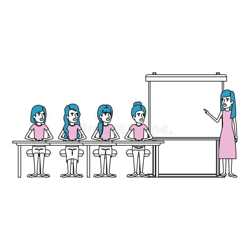 De secties van de silhouetkleur met vrouwen groeperen zitting in een bureau voor uitvoerend wijfje in presentacion bedrijfsmensen royalty-vrije illustratie