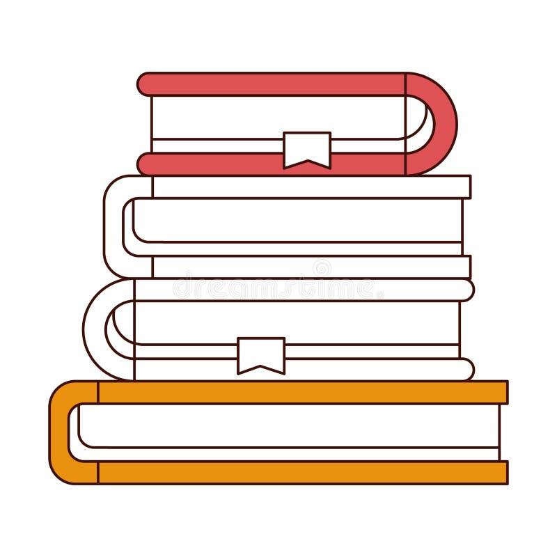 De secties van de silhouetkleur van stapelinzameling van boeken met referentie royalty-vrije illustratie