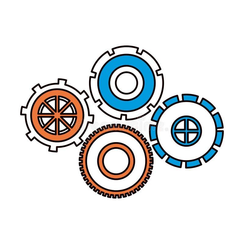 De secties van de silhouetkleur van vastgesteld radertje rijden pignonspictogram stock illustratie