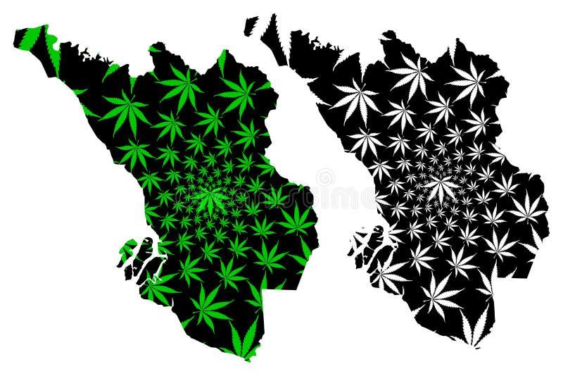 De Selangorstaten en de federale gebieden van Maleisië, Federatie van de kaart van Maleisië zijn ontworpen groen en zwart cannabi royalty-vrije illustratie