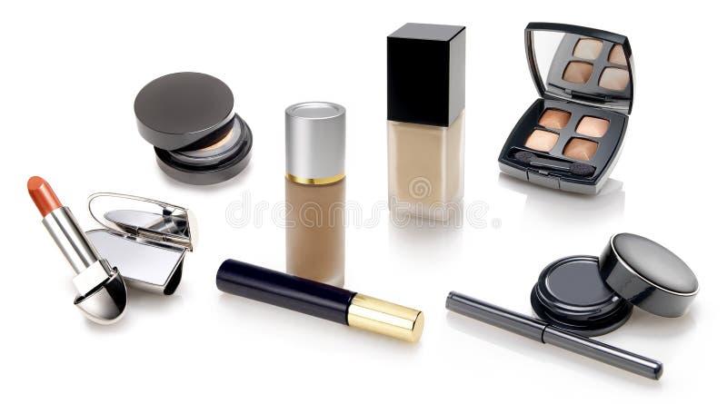De selectie van make-upn en van schoonheidsmiddelen stock foto's