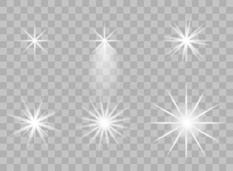 De selectie van de transparante elementen van licht op een geïsoleerde achtergrond Heldere bezinning, gloed Glanzende ster blinde royalty-vrije stock foto's