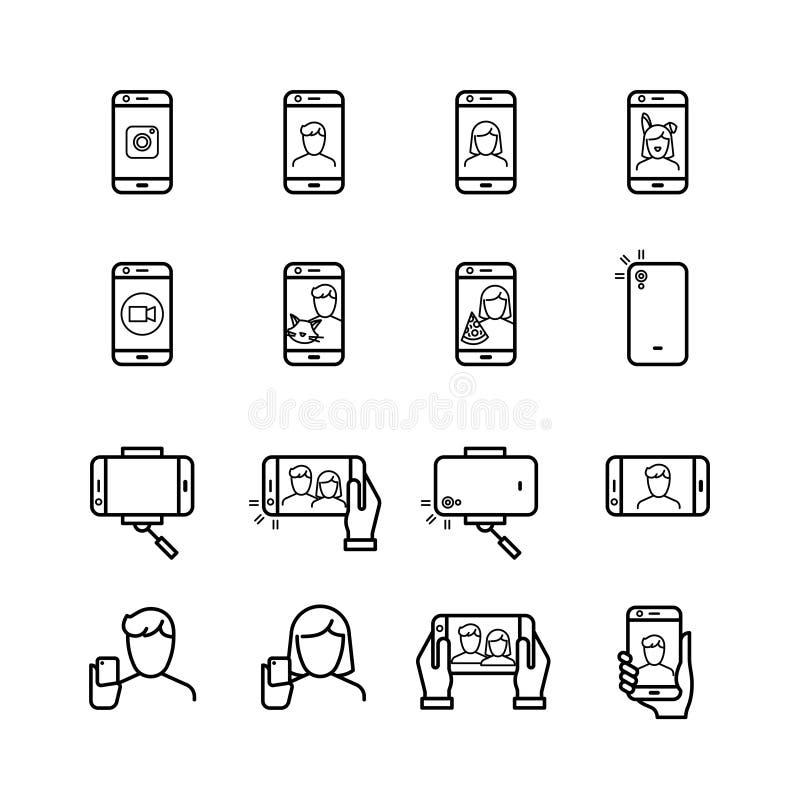 De Selfiefoto, mensen neemt foto met smartphone en monopod lijn vectorpictogrammen royalty-vrije illustratie