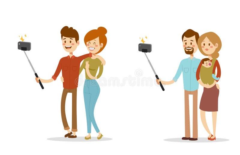 De Selfiemensen isoleerden vector van de de fotolevensstijl geplaatste hipster slimme vlakke camera van het illustratiekarakter s royalty-vrije illustratie