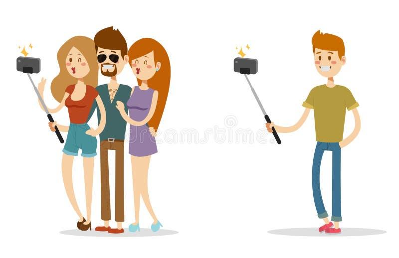 De Selfiemensen isoleerden vector van de de fotolevensstijl geplaatste hipster slimme vlakke camera van het illustratiekarakter s stock illustratie