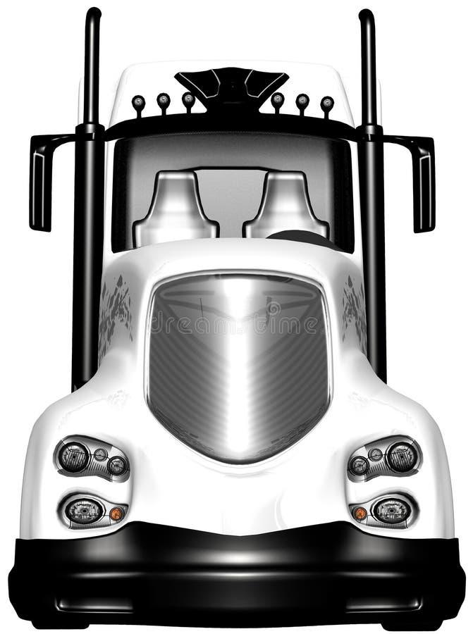 De Semi Geïsoleerde Vrachtwagen van de tractoraanhangwagen vector illustratie