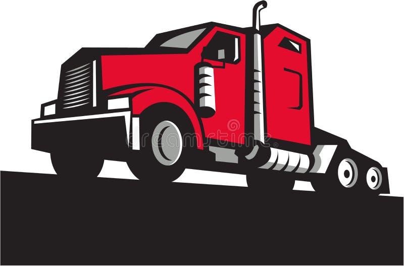 De semi Lage Retro Hoek van de Vrachtwagentractor stock illustratie