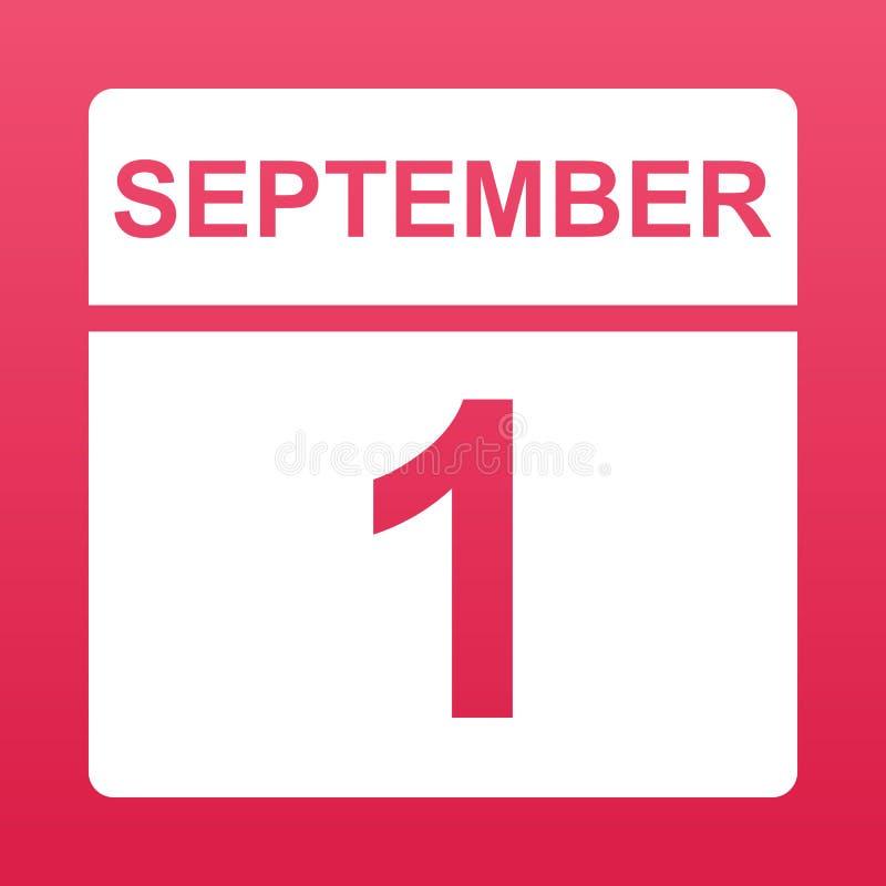 1 de septiembre Calendario blanco en un fondo coloreado D?a en el calendario Primero de septiembre D?a del conocimiento Ilustraci libre illustration