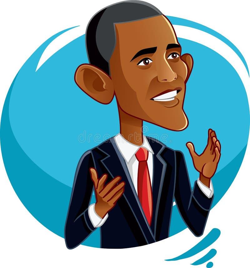 6 de septiembre de 2016, Barack Obama Vector Caricature stock de ilustración