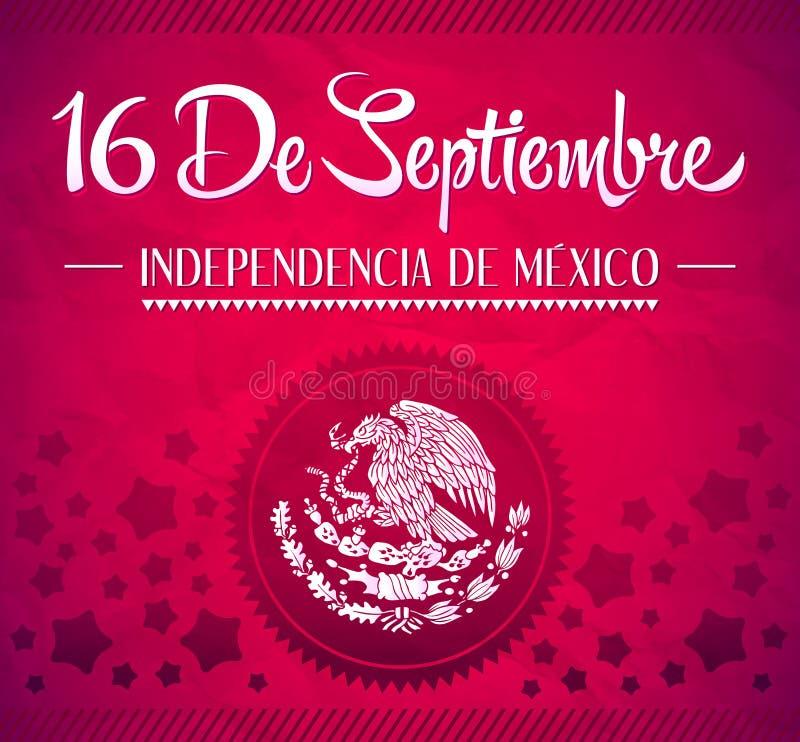 16 DE Septiembre, dia DE independencia DE Mexico royalty-vrije illustratie