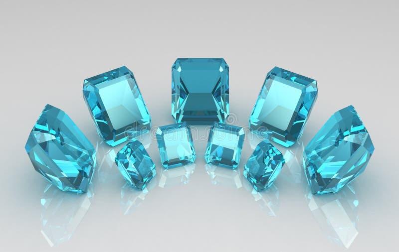 De serie van smaragd sneed blauwe aquamarijnstenen stock illustratie