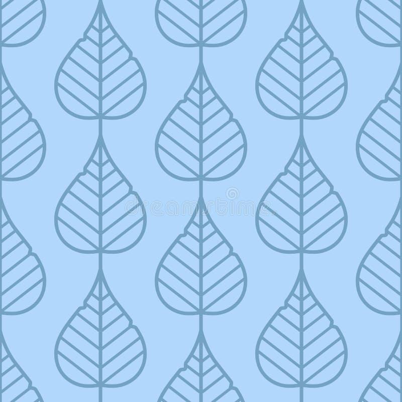 De sering verlaat naadloos vectorpatroon Uitstekende (lichtblauwe) stijl en kleuren stock illustratie