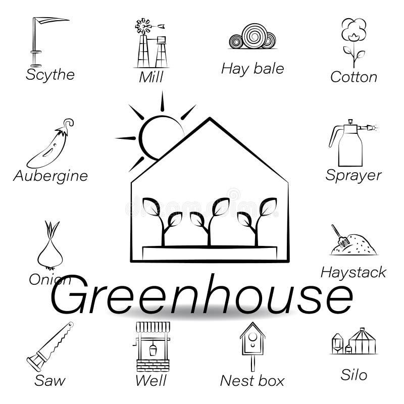 De serrehand trekt pictogram Element van de landbouw van illustratiepictogrammen De tekens en de symbolen kunnen voor Web, emblee stock illustratie
