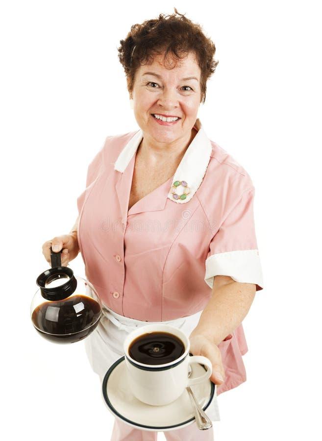 De serveerster dient Uw Koffie royalty-vrije stock fotografie