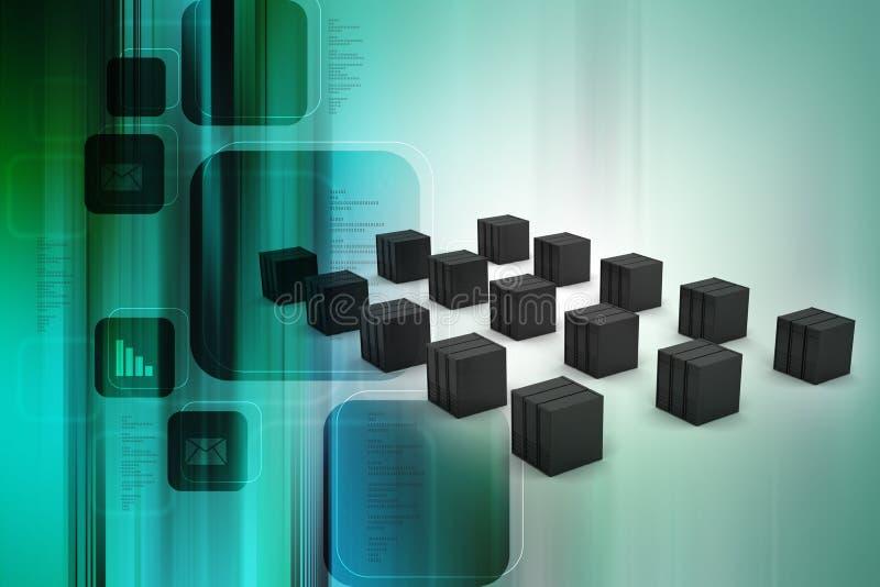 De server en de gegevens gaan binnen royalty-vrije illustratie