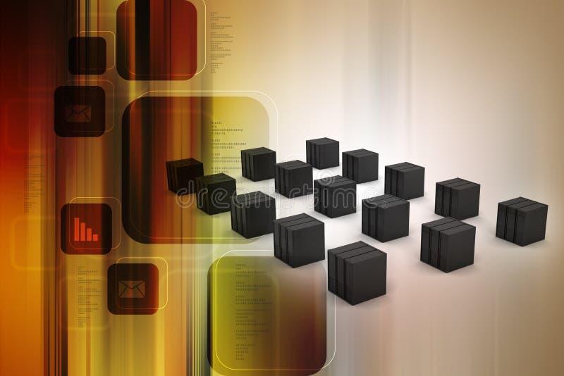 De server en de gegevens gaan binnen vector illustratie