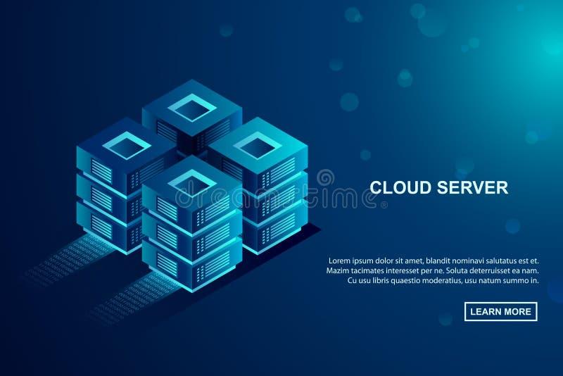 De server van de wolkenopslag, gegevens het ontvangen concept Isometrische Vectorillustratie stock illustratie