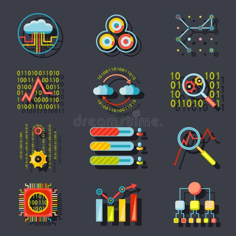 De Serverpictogrammen van de gegevens Analitische Website op Modieus stock illustratie