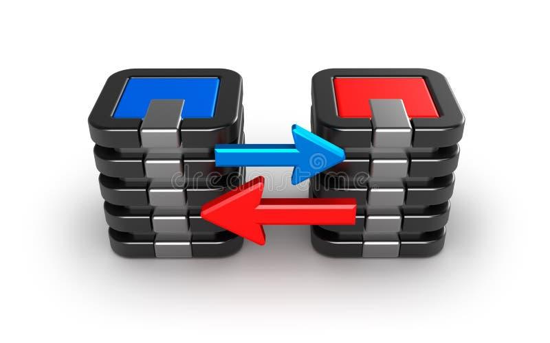 De servers die van de centrale verwerkingseenheid informatie ruilen. stock illustratie