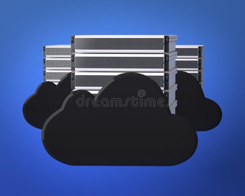 De Servers van de Gegevensverwerking van de wolk stock illustratie