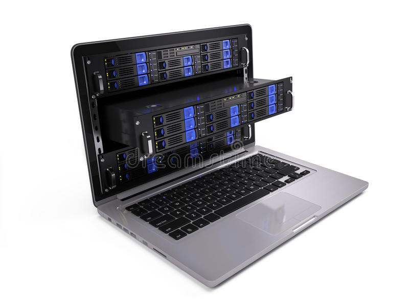 De servers van het computerrek in laptop het scherm stock illustratie