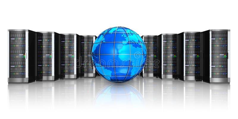 De servers van het netwerk en de bol van de Aarde royalty-vrije illustratie