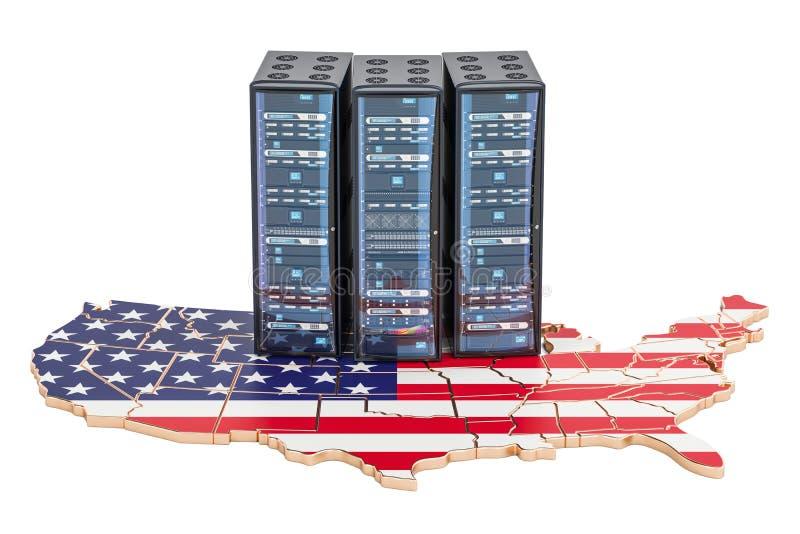 De serversrek van het gegevenscentrum in het concept van de V.S., het 3D teruggeven vector illustratie