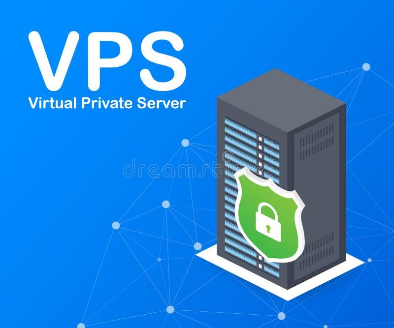 De serverweb van VPS de Virtuele privé het ontvangen technologie van de de diensteninfrastructuur Vector illustratie royalty-vrije illustratie
