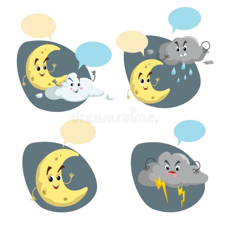 De set van tekens van het beeldverhaalweer De vriendschappelijke toenemende maan, de regenwolk met regendruppels en de onweersbui stock illustratie