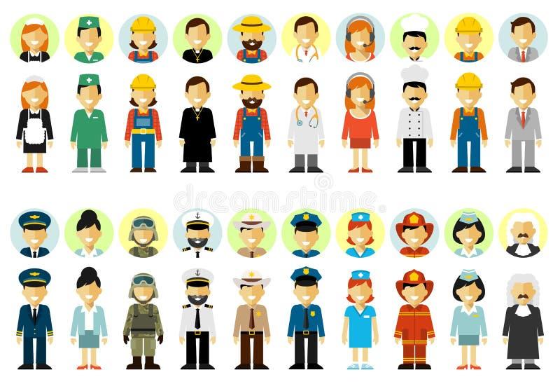 De set van tekens van het mensenberoep in vlakke die stijl op witte achtergrond wordt geïsoleerd royalty-vrije illustratie