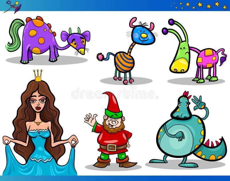 Download De Set Van Tekens Van De Fantasie Van Het Beeldverhaal Vector Illustratie - Illustratie bestaande uit mascotte, inzameling: 29503754