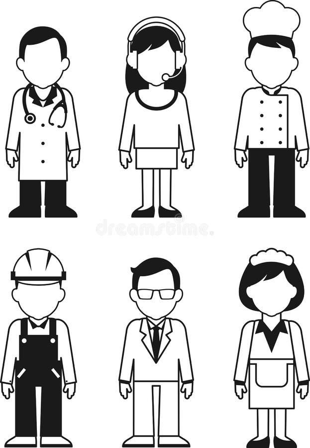 De set van tekens van het mensenberoep in dunne lijn royalty-vrije illustratie
