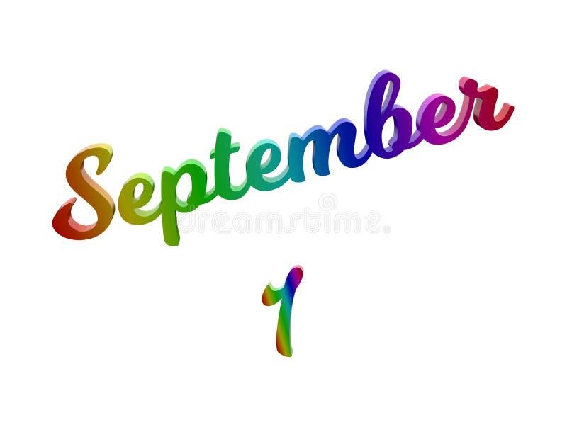 1º de setembro data do calendário do mês, 3D caligráfico rendeu a ilustração do texto colorida com inclinação do arco-íris do RGB ilustração royalty free