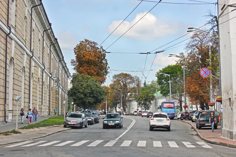 2 de setembro de 2017, Kiev - Ucrânia; Rua da cidade velha de Kiev imagem de stock