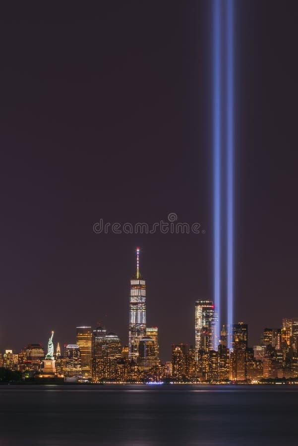 11 de setembro luzes em Manhattan New York foto de stock