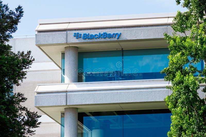 25 de setiembre de 2019 San Ramón / CA / USA - Blackberry en su sede de la Bahía de San Francisco; Exdesarrollador de BlackBerry fotos de archivo