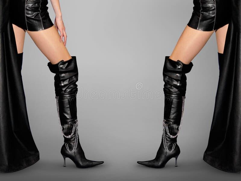 De sexy Benen en Laarzen van de Stiletto royalty-vrije stock foto's