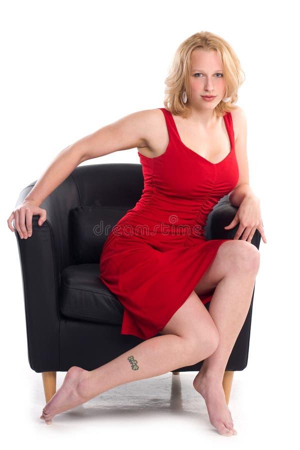 De sexy blonde in speld-omhoog stelt royalty-vrije stock afbeelding
